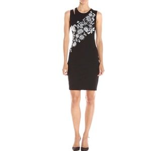 Guess Black Dress White Embroidered Flowers XS NEW